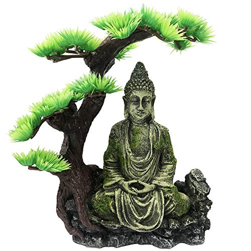 SLOCME Aquarium Buddha Statue Decorations - Tree Provide Shade and shelter for Buddha Statue Fish Tank Statue Ornament