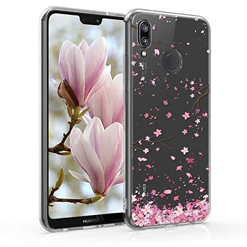 kwmobile Custodia Compatibile con Huawei P20 Lite - Cover Silicone TPU - Protezione Back Case - Pioggia di Petali Rosa Marrone Scuro Trasparente