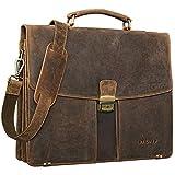 STILORD 'Julian' Aktentasche Leder Elegant Klassische Businesstasche mit Schloss groß aufsteckbar Bürotasche echtes Leder vom Rind, Farbe:mittel - braun