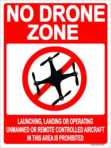 Flood City Fabrications No Drone Flying Sign RED Indoor Outdoor Metal 9x12 NO Fly Zone Aircraft Zone