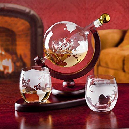 Whiskey Décanteur Globe avec ensemble de 2Gravures Globe Verres à Whisky–pour liqueur,...