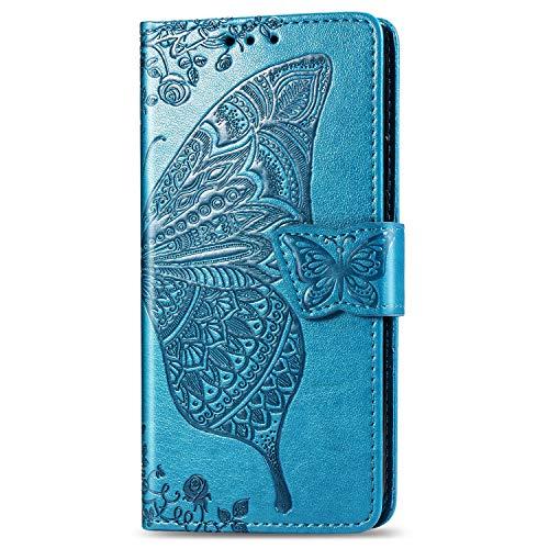JIUNINE Hülle für Oppo Realme 6 / Realme 6S, Handyhülle Leder Flip Hülle mit Schmetterling Muster [Kartenfach] [Magnetverschluss] Schutzhülle Tasche Cover Lederhülle für Realme 6S, Blau