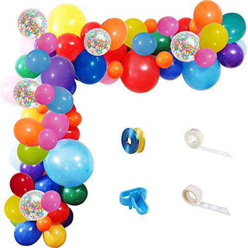 Rainbow Party Balloons Garland Kit, 114 Pack Assorted Multicolor Latex Balloon With Long Paper Confetti Balloons for Carnival Circus Fiesta Wedding Birthday Party Decorations