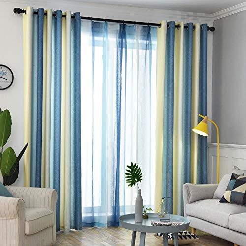 Einfache moderne Vorhänge für Wohnzimmer Schatten Imitation Leinen Vorhänge für Schlafzimmer nordischen Stil Farbverlauf gestreiften Vorhänge Stoff, lila Vorhang, B300cmxH250cm, Pull Plissee Tape
