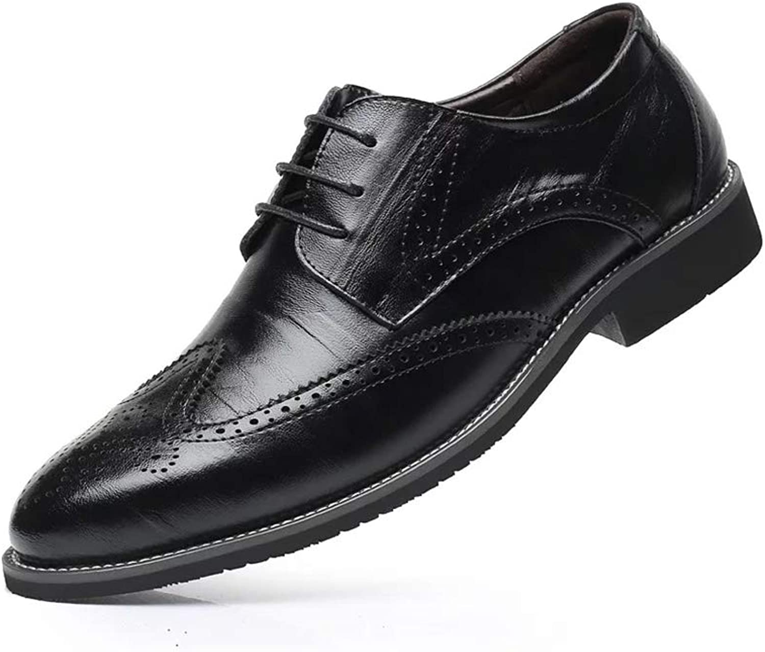 Duberess Men's Brogue Perforated Burnished Toe Handmade Leather Wing-tip Lace up Oxford Dress shoes