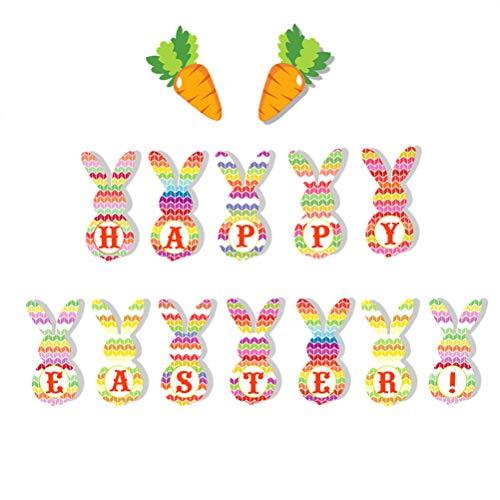 EMUKOEP Guirnalda de banderines de Pascua, diseño de zanahoria, arpillera, bandera vintage, yute para fiestas de Pascua