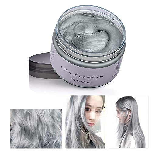 Neutral Disposable Temporary Hair Dyeing and Styling Hair Mud Disposable Hair Dyeing Wax Halloween Dress Up Hair Dyeing Wax Color Changing Styling Wax (Grau)