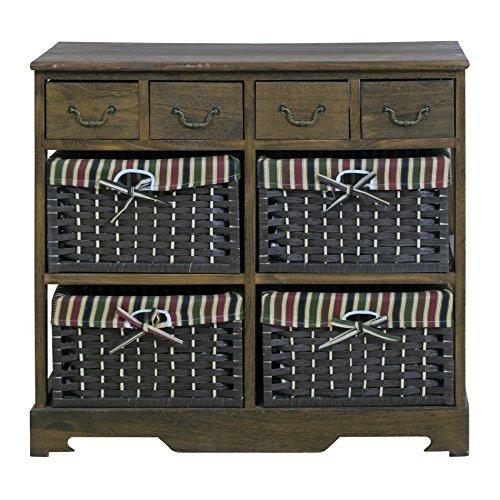 Rebecca Mobili Cajonera marrón, mueble con 8 cajones, madera mimbre, marrón, estilo rústico, para entrada baño - Medidas: 66 x 72 x 30 cm ( AxANxF) - Art. RE4269