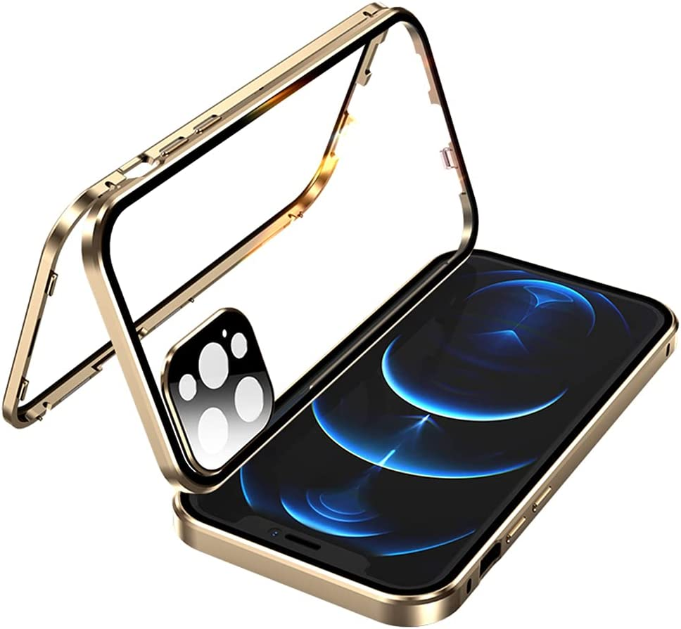 Bfgurdou Clear Case Designed for iPhone 12 Pro Case, with Camera Lens Screen Protector Shockproof Protective Phone Case Double-Sided Metal Frame Buckle Cover for iPhone 12 Pro 6.1 inch (Gold)