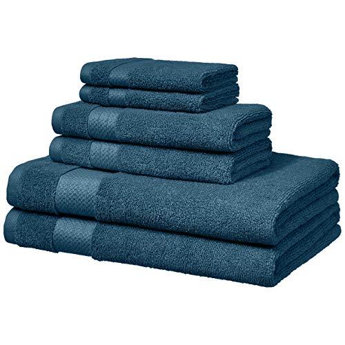 Amazon Basics – Toallas de altas prestaciones, 2 de baño, 2 de mano y 2 de lavabo, Azul agua