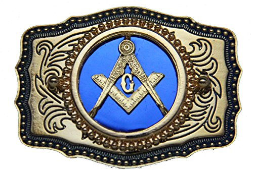 Blue Square and Compasses Masonic Belt Buckle Made in USA