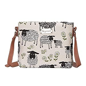 Signare Tapestry Crossbody Bag Small Shoulder Bag for Women with Horse and Sheep Design (Spring Lamb, XB02-SPLM)