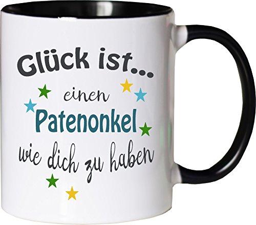 WarmherzIch Becher Tasse Glück ist… Patenonkel Kaffee Kaffeetasse liebevoll Bedruckt Freund Bruder Bro Geburt Weiß-Schwarz