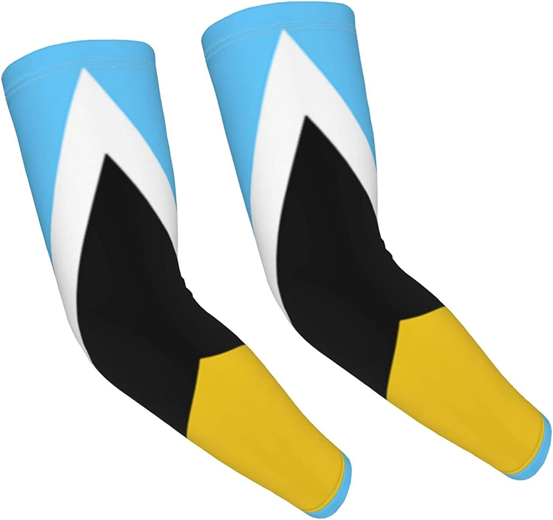 GKrepps Saint Lucia Flag Compression Sleeves for Kids Basketball Shooting Sleeve - Youth Sports Football Baseball Softball