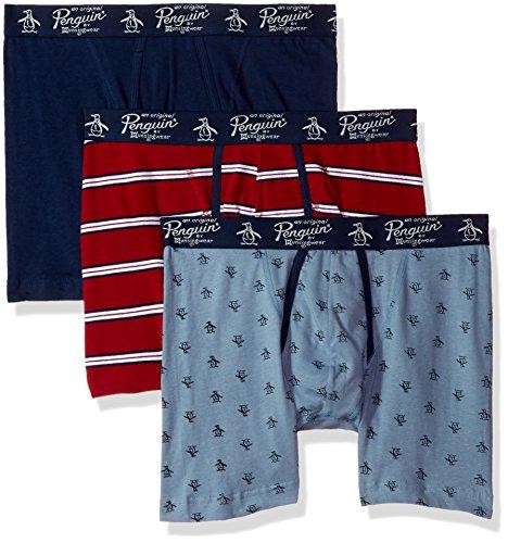 Original Penguin Men's Cotton Stretch Fashion 3 Pack Boxer Brief, Rio Red Stripe Faded Denim pete Medieval Blue, M