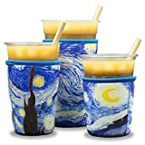 Reusable Insulated Neoprene Iced Coffee Beverage Sleeves - Cold Drink Cup Holder for Starbucks Coffee, McDonalds, Dunkin Donuts, Tim Hortons and More   (The Starry Night)