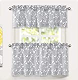 DriftAway Daisy Dahlia Blooming Floral Pattern Semi Sheer 3 Pieces Rod Pocket Kitchen Window Curtain Set with 2 Tiers 29 Inch by 24 Inch Each and 1 Valance 58 Inch by 14 Inch Gray