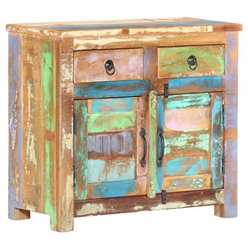 Goliraya Aparador Vintage de Madera Maciza Reciclada con 2 Puertas y 2 cajones 70x35x65 cm