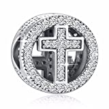 925 Sterling Silver CZ Cross Charms' With God All...