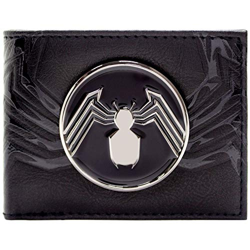 Cartera de Venom Insignia de araña de Plata Negro