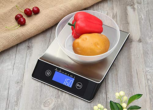 Báscula Digital de Cocina,Balanza de Alimentos Multifuncional, Escala de Peso de Alta Precisión con Función de Tara, Pantalla LCD Báscula de Alimentos Electrónica -15kg