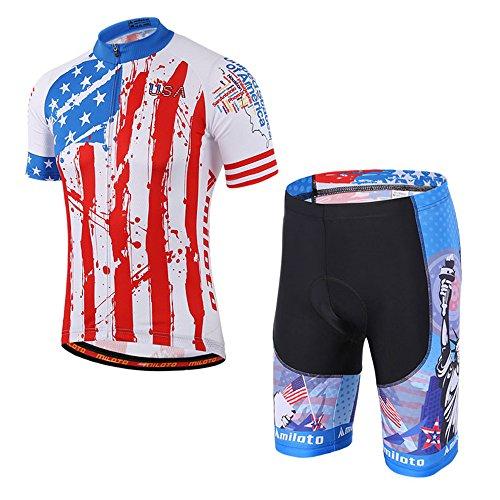 MILOTO Herren Fahrradbekleidung Set Atmungsaktiv Schnell Trocken Radtrikot (USA, M)