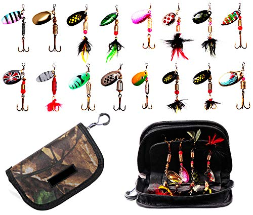 16pcs Fishing Spinner Baits Lures Kits with Tackle Bag,Rooster...