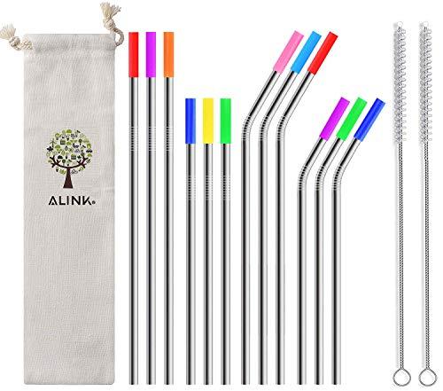 ALINK 12 pajitas de metal de acero inoxidable con funda de t