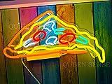 "Queen Sense 14"" Delicious Dripping Pizza Slice Neon Sign Acrylic Handmade Man Cave Beer Pub Bar Wall Decor Neon Light WB385"