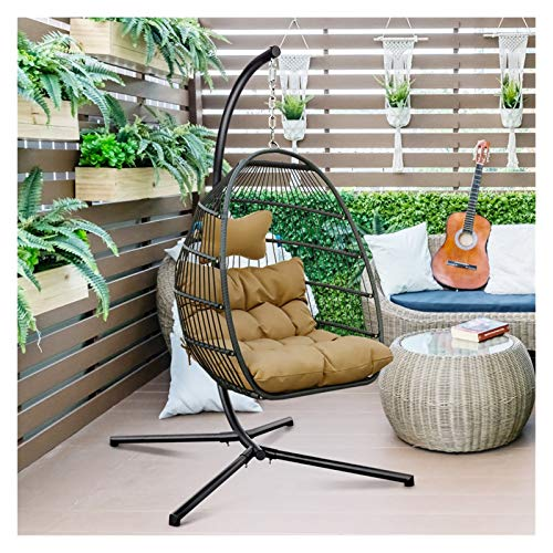 RKRLJX Hanging Egg Chair Outdoor Egg Chair Luckyberry Egg Chair Outdoor Indoor Wicker Tear Drop Hanging Chair with Stand