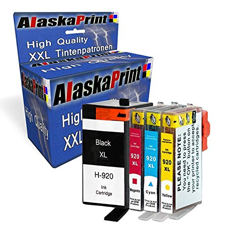 Alaskaprint 5 cartuchos de tinta XXL compatibles para HP 920XL 920, alta capacidad, compatibles con HP Officejet 6500 6500A 6000 7000 7500 7500A Wireless (2BK & C/M/Y)