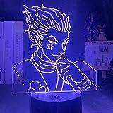 Lámpara de ilusión 3D Luz de noche LED Regalo para niños Sensor táctil Dormitorio colorido Anime Hunter X Hunter Decoración Cool Hisoka Gadgets-16 colors remote