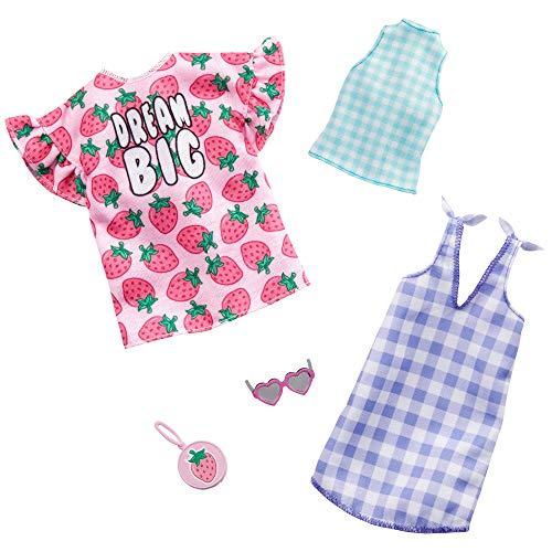 Barbie GHX61 GHX61-Fashions 2-delige set moden (aardbeienprint en ruiten), meerkleurig