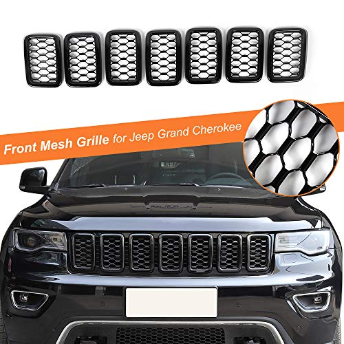RT-TCZ 7PCS Front Grill Mesh Inserts,Rings Covers Inserts Kit for 2017 2018 2019 2020 2021 Jeep Grand Cherokee Not fit for SRT, Trackhawk & 2021 Grand Cherokee L(Black)