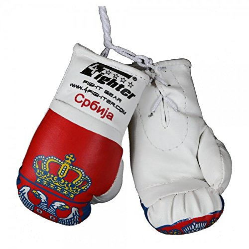 4Fighter Mini Boxhandschuhe Serbien mit Nationalflagge,Wappen und ?????? Schriftzug