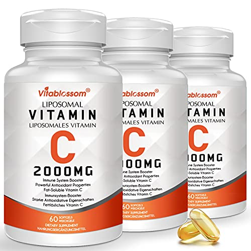 3 Bottles Superior Absorption Liposomal Vitamin C Softgels 2000mg, Antioxidant Supplement for Immune System Support & Collagen Booster, Non GMO, VIT C Capsules