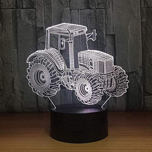Led Nachtlampje 3D Graafmachine Voertuig Bulldozer Tractor 7 Kleuren Veranderende Aanraakschakelaar Met Smart Button Warming Presenteren Creatieve Decoratie Ideaal Kunstnijverheid-YD0149