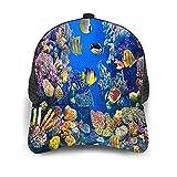 Minalo Gorra de Beisbol Espalda de Malla Senderismo al Aire Libre Sombrero Deportivo,Acuario Colorido, mostrando Diferentes Peces Nadando,Gorra de Sol de Enfriamiento para Hombres Mujeres