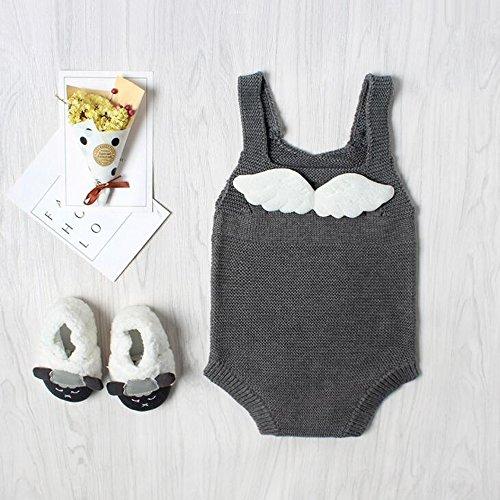 Zooarts für 0–24Monate Baby Mädchen Winkel Flügel Strick Strampelanzug Herbst Oberbekleidung Body Overall Outfits Kleidung, grau, 18-24 Monate