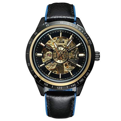 Holeider Armbanduhr für Herren, Wasserdicht Herren-Automatikuhr Skelett Glasboden Armbanduhr mit Leder Armband, Motorrad-Design Transparent Automatische Uhren für Männer (A)