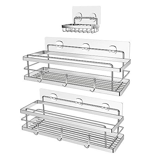Toloryon Estantes Cesta para Ducha Baño, Estanteria Ducha Adhesivos Organizador,Estante Ducha Baño (3 Pack)