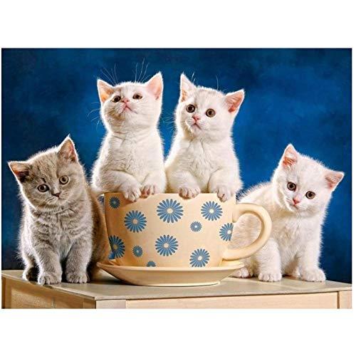 Artaslf 5D DIY pintura de diamantes animales de tamaño completo lindo gato mirando diamante bordado moasic punto de cruz regalo decoración del hogar 30 x 40 cm sin marco