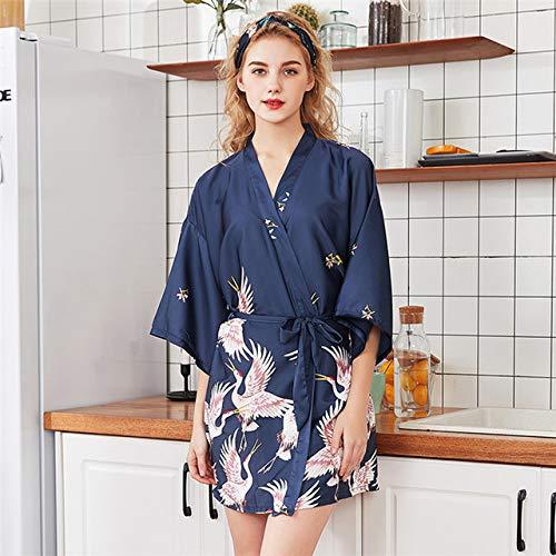 IAMZHL Albornoz Kimono de satén Negro de Verano Mujeres Novia Dama de Honor Vestido de Bata de Boda Vestido Flor Sexy Ropa de Dormir Larga-Short Robe 1-1-XL