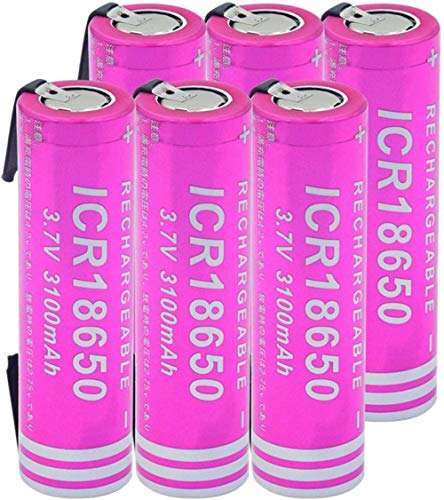 3,7 v 3100 mah 18650 batería de Iones de Litio baterías de Iones de Litio Recargables con pestañas de níquel DIY Potencia de Larga duración-6 Piezas