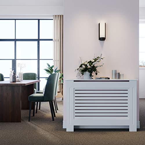 ELEGANT Radiator Cover Horizontal Slat Radiator Shelve White Painted Modern MDF Cabinet for Living Room Bedroom, Medium