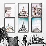 VVSUN Torre de París, Edificios Famosos de la Ciudad, Arte de Pared, Pintura en Lienzo, Carteles e Impresiones nórdicos, imágenes para la decoración de la Sala de Estar; 40x60cmx6 (sin Marco)