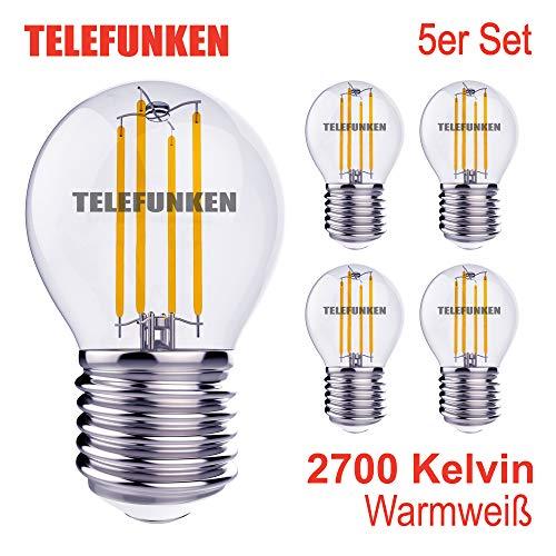 Telefunken - LED Lampe 5er Set I Glühbirne I E27 I 4W I 350 Lumen I warm weiß I 2700K I Ra90 I 100.000 Schaltzyklen I klar Leuchtmittel I Birne I D: 4.5 cm