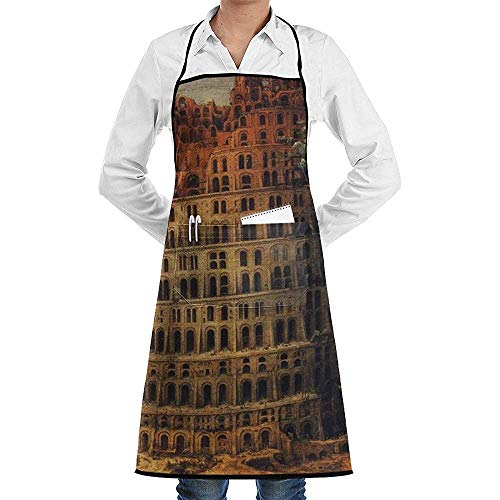 Kreative Turm Babylon Malerei Kochschürze Mit Taschen Grill Schürzen Für Frauen Männer Küche Kochen Backen BBQ