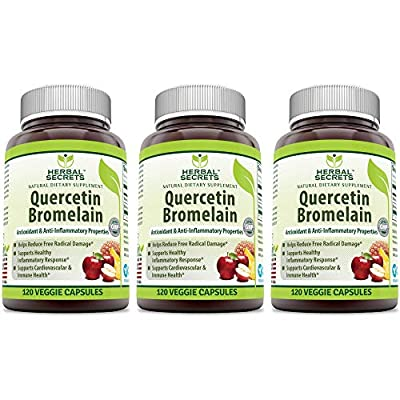 Herbal Secrets Quercetin 800 Mg with Bromelain 165 Mg, 120 Veggie Capsules (Non-GMO) - Supports Cardiovascular & Immune Health * Supports Healthy inflammatory Response *(3 Pack)