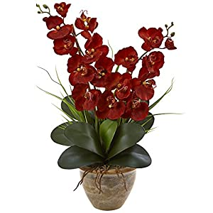 Nearly Natural 1 Double Phalaenopsis Orchid Arrangement, Autumn